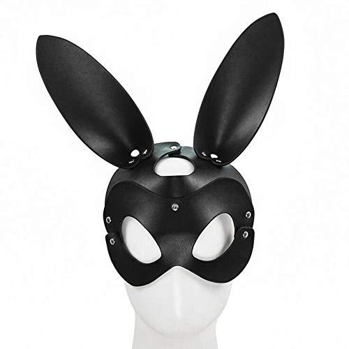 Ojo de Cuero Genuino MK Vestido de Escenario Cosplay Gato Zorro MK Productos Divertidos para Adultos Roco Ambos Ojos (Color: Negro, Tamao: Orejas de Conejo)