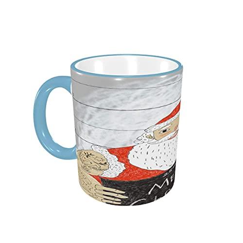 Taza de café Fashion Smiling Tattoo Santa Feliz Navidad Tazas de café Tazas de cerámica con Asas para Bebidas Calientes - Cappuccino, Tea, Cocoa Gifts 12 oz Forest Green