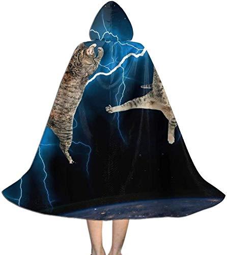 Romance-and-Beauty Capa para nios Capa con Capucha Parpadeante Lightning Cat Fight Unisex Capa con Capucha Abrigo Tnica de Bruja Capa Larga Capa de Fiesta de Halloween Cosplay