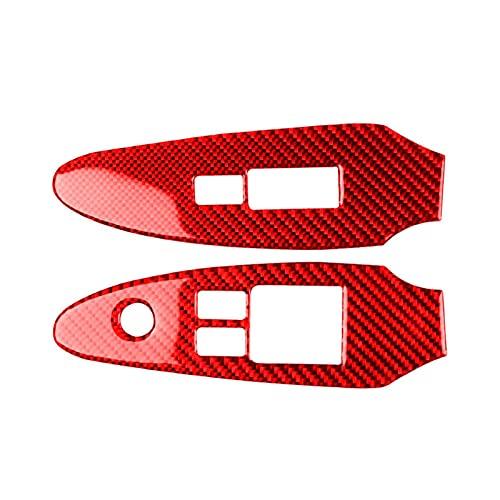 ZHANGJIN 2pcs Red Window Interruptor del Interruptor de Marco de Ajuste de Ajuste para Nissan 370Z 2009-2020 Fibra de Carbono ABS Adhesivo de automóvil Accesorios