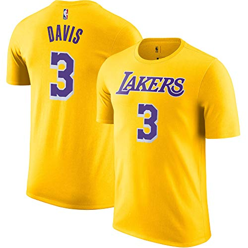 Outerstuff NBA Youth Performance Game Time Team Color Player Name and Number Jersey T-Shirt (Anthony Davis Los Angeles Lakers Yellow, Large 14/16)
