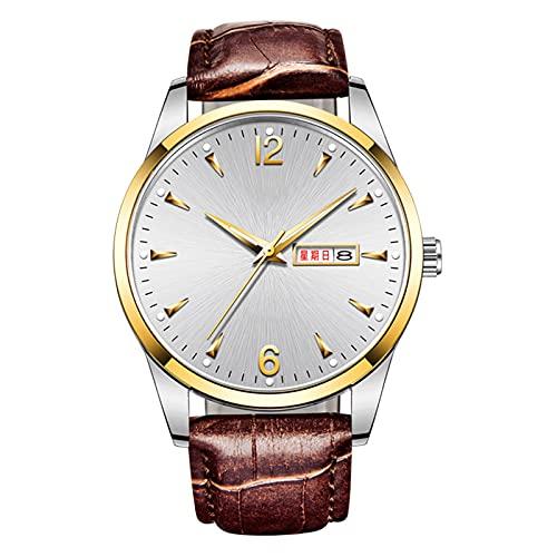 TREWQ Reloj Analógico para Adultos de Automático con Correa en Cuero, Diseñador Impermeable Reloj Hombre Fecha de Pulsera Regalo Elegante,Brown White