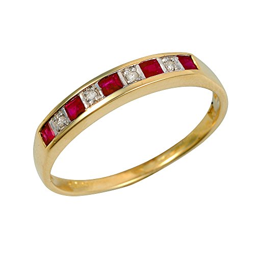 Ivy Gems 9ct Yellow Gold Square Cut Ruby & Diamond Channel Set Half Eternity Ring - Size Q