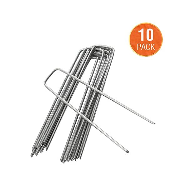 ANSIO Pack of 10 - Garden Pegs Stakes Staples Securing Lawn U Shaped Nail Pins, 4''/100mm Ideal for Weed Control…