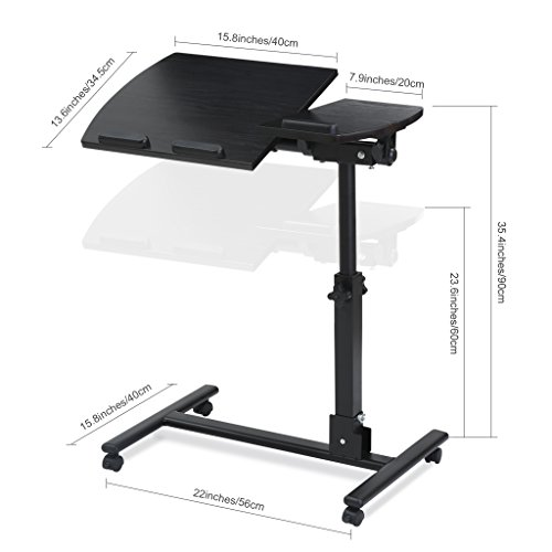 LANGRIA Laptop Rolling Cart Table Height Adjustable Mobile Laptop Stand Desk Photo #2