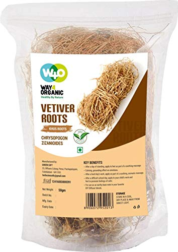 Vetiver Root/Dried Khus-Khus/Vetiveria Zizanioides (50 grams), Young Roots Not Aged Matured Roots, Natural Herbal Coolant - Way4Organic