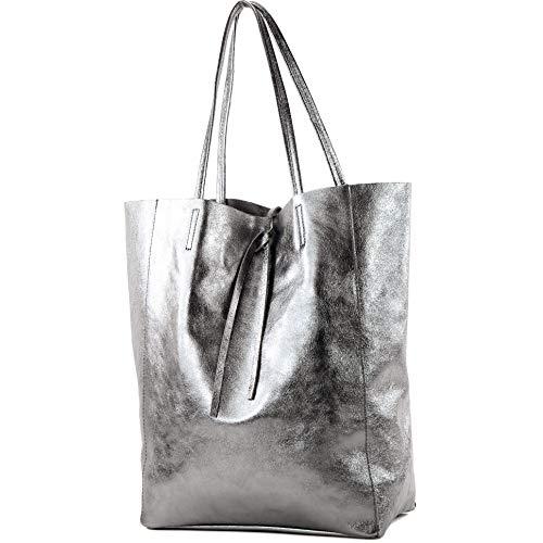 modamoda de - T163 - Ital. Shopper mit Innentasche aus Leder, Farbe:Anthrazit-Metallic
