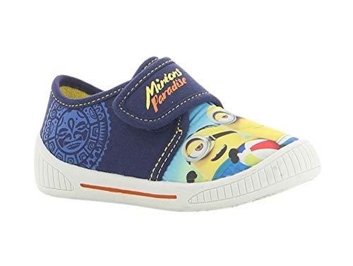 Minions Kinder Sneaker | Canvas Halbschuhe Freizeitschuhe | Komfort Klettverschluss Leomil Hausschuhe | Gr.24-32 NEU (Numeric_25)