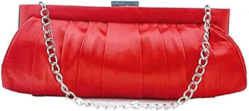 Women's Evening Handbags Satin Evening Bag, Pleated Clutch, Bridal Bag, Suitable for Wedding, Party (Color : Red)