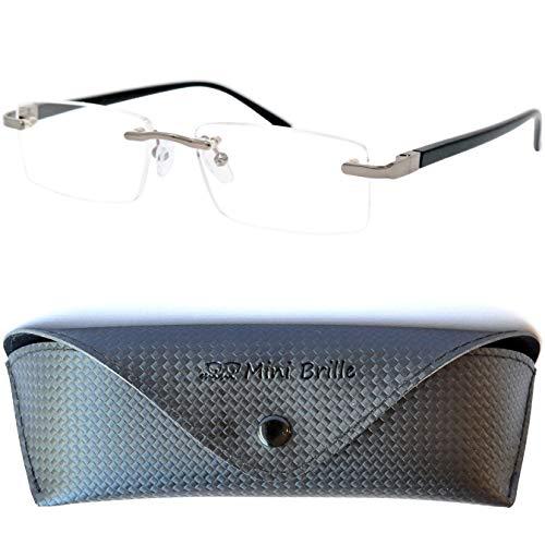 Randlose Lesebrille mit rechteckigen Gläsern - mit GRATIS Brillenetui, Edelstahl Rahmen (Schwarz), Lesehilfe Herren und Damen +2.0 Dioptrien