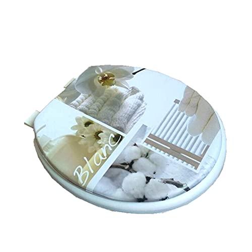 JINGGL Tapa De Inodoro Set de Asiento de Inodoro Conjunto de Tapa de Esponja 17'Asiento de Inodoro Tapa de Inodoro Patrón de Tapa Suave Asiento de Asiento Caliente (Color : White)