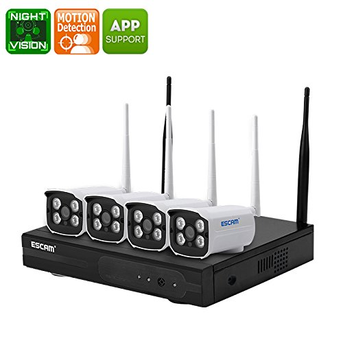 4 Channel NVR Security Kit ESCAM WNK403 4 WiFi IP Cameras HD Resolutions