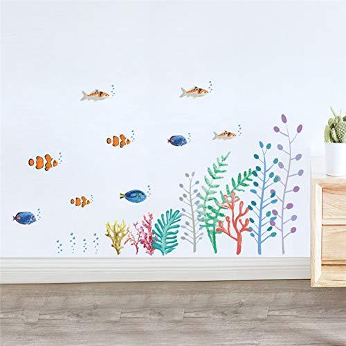 SUPWALS Wandtattoos Bunte Fische Unterwasserwelt Wandtattoos Kinderzimmer Bad Wohnkultur Cartoon Tiere Wandaufkleber Wandkunst