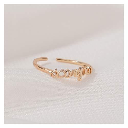 Timbre de timbre Minimalista delgado de oro abierto de 12 estrellas con punta de dedo anillo de dedo cumpleaños regalo de la amistad personalidad anillo zodiaco anillo ( Main Stone Color : Scorpio )