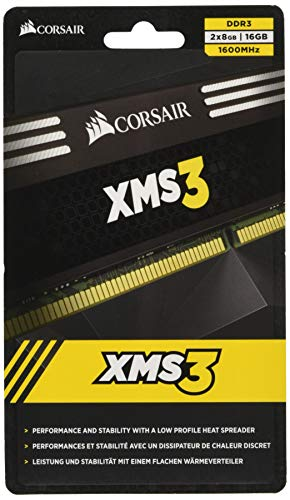 Corsair CMX16GX3M2A1600C11 XMS3 16GB (2x8GB) DDR3 1600 Mhz CL11 Performance Desktop Memory