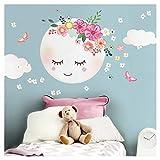 Little Deco DL270 Sticker mural pour chambre d'enfant Motif lune et nuages I XL 52 x 52 cm (l x h) I Sticker mural autocollant pour chambre de bébé Motif fleurs
