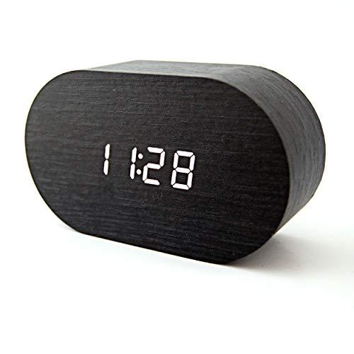 SACANELL DESIGN Reloj Despertador Digital Madera con indicador de Temperatura, Tres alarmas y Cuatro Niveles de Intensidad de luz. Control con Sonido o Tacto.