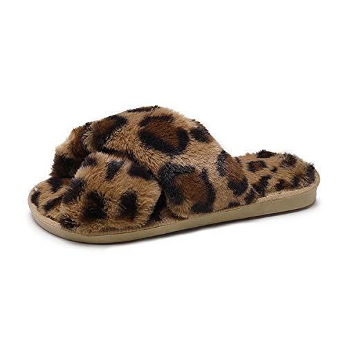 chausson Slipper Neue Winter Leopardenmuster Leopardenmuster Plüsch Weich rutschfeste Bequeme Pantoffel Dame Home Wolle Hausschuhe Frauen Tragen Baumwolle Hausschuhe Blau 6 7