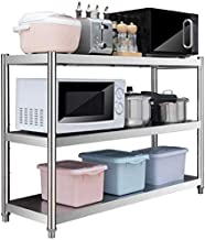 Kitchen Shelves Metal Shelves 3 Layers Microwave Shelves Close Racks Stainless Steel Floor Three Layers Storage for Kitchen