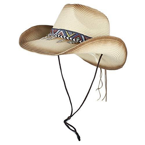 Cicongzai Sombrero de playa al aire libre de moda al aire libre Sombrero de paja Pintura en aerosol negra Unisex Estilo panameño de vaquero for mujer Sombrero de ala ancha for sol de playa Vocación So