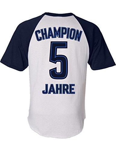 Geburtstags Shirt: Champion 5 Jahre - Sport Fussball Trikot Junge T-Shirt für Jungen - Geschenk-Idee zum 5. Geburtstag - Fünf-TER Jahrgang 2015 - Fußball Club Fan Stadion Mannschaft (128)