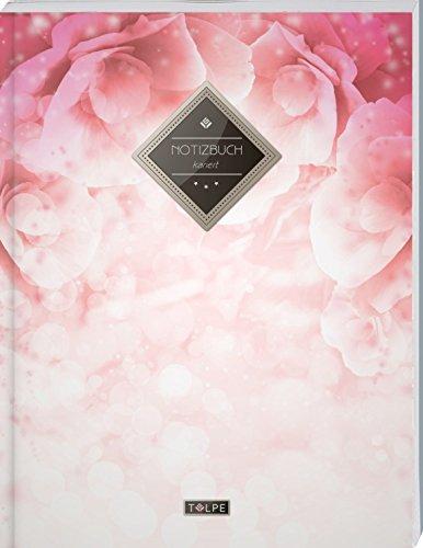 """TULPE Kariertes Notizbuch A4 """"C033 Rosentraum"""" (140+ Seiten, Vintage Softcover, Doppelrand, Seitenzahlen, Register - Dickes Notizheft, Matheheft, ... Schulheft, Tagebuch, Kariertes Heft Nr 26)"""