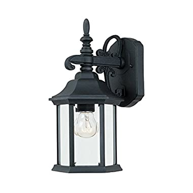 2961-BK Outdoor Wall Lantern, Black Cast Iron