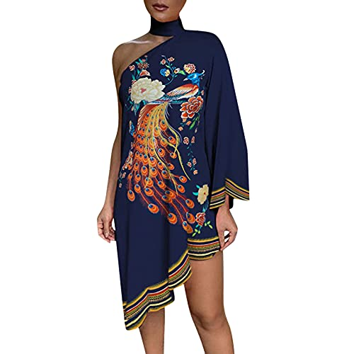 Bohemian Dress for Women Midi Tropical Print One Shoulder Shawl Style Sundresses for Women Summer Casual Navy