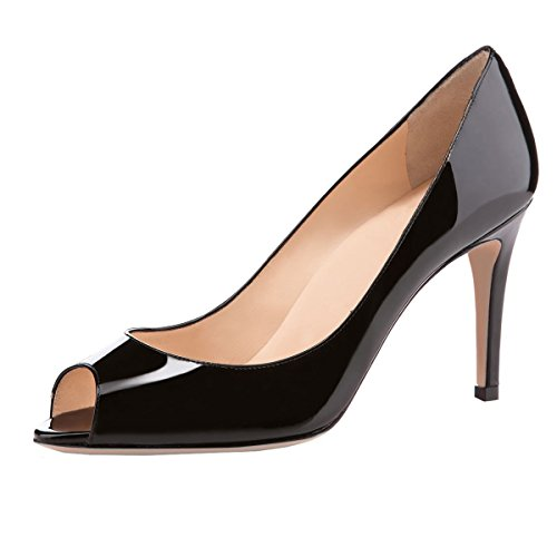 elashe Damen Peeptoe Pumps | 8cm Stiletto High Heel | Bequeme Lack Stilettos Schwarz EU38