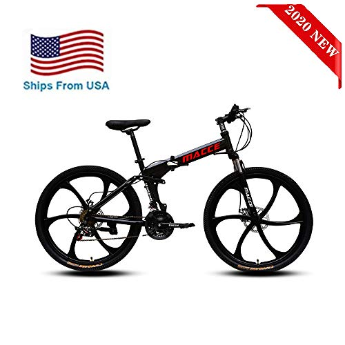 [Ship from USA] Adult Mountain Bikes//26 Inch Mountain Trail Bike High Carbon Steel Folding Bicycles//6 Spoke 21 Speed Dual Disc Brakes Mountain Bicycle//Lightning delivery (Black)