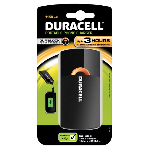 Duracell 81296700, Caricabatterie USB Portatile 3h 1150 mAh