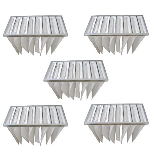 vhbw 5x borsa filtrante per impianti di condizionamento e ventilazione - Filtro G4, 29,5 x 59,2 x 38 cm, bianco
