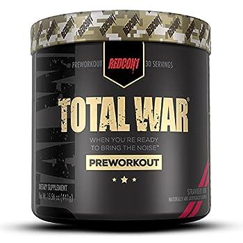 Redcon1 - Total War Preworkout Powder - Strawberry Kiwi - 30 Servings - Insane Energy Laserlike Focus Insane Endurance  Strawberry Kiwi