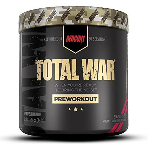 Redcon1 Total War - Pre Workout, Boost Energy, Increase Endurance and Focus, Beta-Alanine, 350mg Caffeine, Citrulline Malate, Nitric Oxide Booster - Keto Friendly (Strawberry Kiwi)