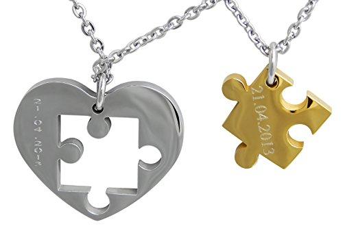 Hanessa Gravierte Puzzle Herz Kette mit Wunsch Gravur Silber Gold Partner-ketten aus Edelstahl in silber Puzzle-Teil Anhänger Geschenk Schmuck für Paare Mann und Frau