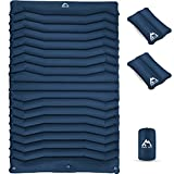 KINGS TREKCampingSleepingPadwith2AirPillows,Self-InflatingDoubleCampingPad,ExtraThick3.93inch,LightweightSleepingInflatableMatfor 2PersonTent, Backpacking,Camping,Hiking Blue