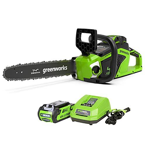 greenworks 40V充電式チェーンソー コードレス ガイドバー350mm ブラシレスモーター (2Ahバッテリー1個・充電器付) 伐採 薪つくり 剪定 枝打ち