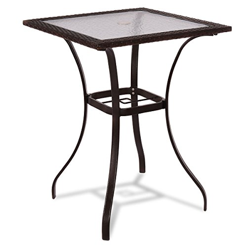 "TANGKULA Patio Table Outdoor Garden Balcony Poolside Lawn Glass Top Steel Frame All Weather Dining Bistro Table (Mix Brown Square 28.5"")"
