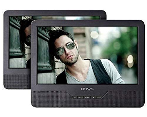 "Odys Seal - Reproductor de DVD portátil con 2 pantallas (LCD TFT, 9"", 800 x 480p, 3.5 mm, USB 2.0), color negro"