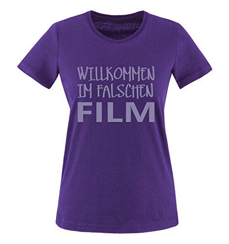 Comedy Shirts - Willkommen im falschen Film - Damen T-Shirt - Lila/Violett Gr. XL