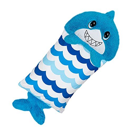 Fluffaluff Pets by Happy Nappers, Snap On & Off The Pillowcase, Standard & Queen-Sized Pillows, Comfy, Cozy, Compact, Super Soft, Warm, Pillows That are Fluff Pets, 3ft. – Large Blue Shark