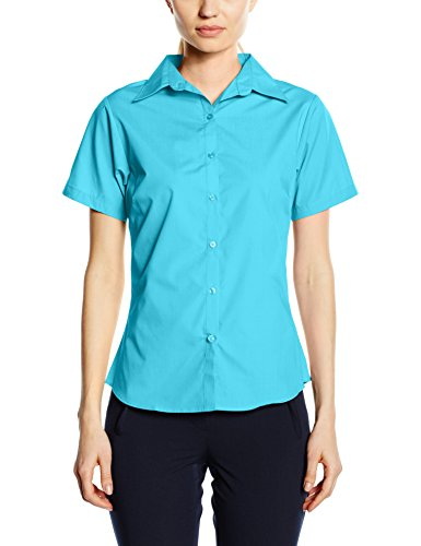Price comparison product image Premier Workwear Ladies Short Sleeve Poplin Blouse Turquoise 18