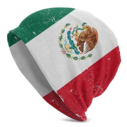 Gorro de Punto cálido de Invierno con Bandera de México Vector, Gorro Daily para Hombre y Mujer, Suave y cómodo.