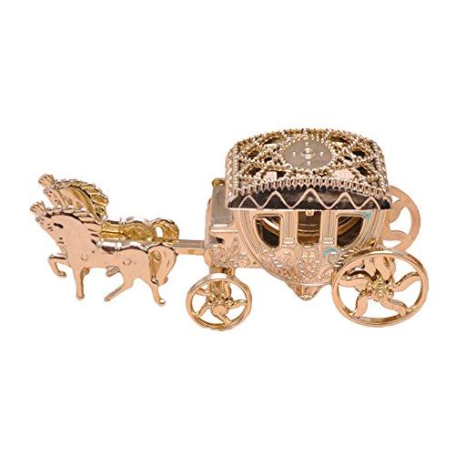 qingsb Caja de chocolate con forma de carruaje para baby shower, cumpleaños, boda, fiesta, color dorado