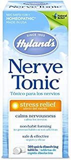 Stress and Anxiety Relief Supplement, Nerve Tonic by Hyland's, Natural Relief of Nerve Pain, Restlessness, Nervousness and Irritability Symptoms, Quick Dissolving Tablets, Non-Habit Forming, 500 Count
