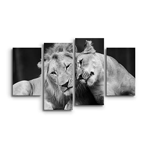 DON LETRA Leones - Juego de 4 Cuadros de Animales para Decoración...