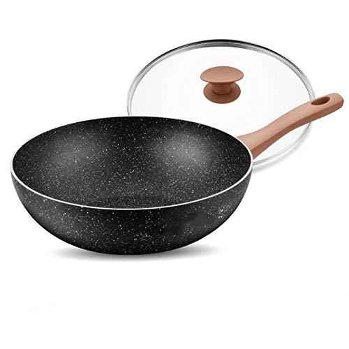Sartenes Antiadherentes Woks antiadherente y sartenes salteando, con tapa, freír cesta y estante de vapor, con asas de toque frías, adecuados for estufas de gas y cocina de inducción. Woks y Sartenes