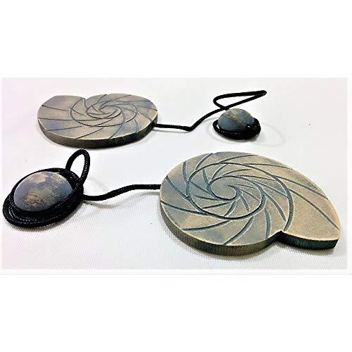 Mosselkern-magneten paar van hout marine-granchi dissel schelpen klokken - aantal 4