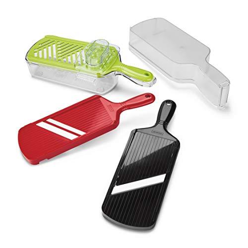 Kyocera EXP Coffret 3 Mandolines : Une Noire réglable, Une Rouge Julienne et Verte râpe (avec Support et protège Doigts) + Un réceptacle à Aliments BK RD + CSN-550 GR, Lame Céramique