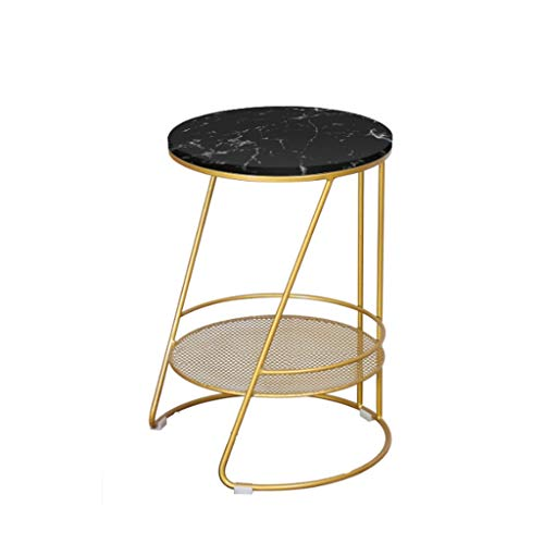 LICHUAN Side Table Modern Bedroom End Tables Nordic Marble Side Small Coffee Table Nightstand With Metal Shelf For Small Side Table End Table Easy Assembly (Color : Black, Size : B)